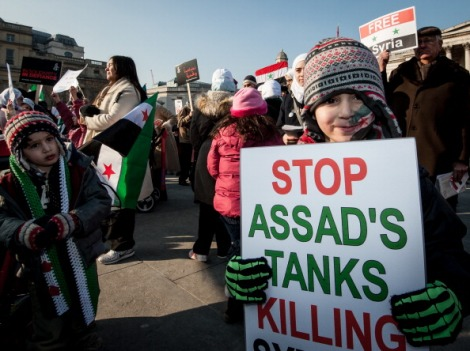 [UNVERIFIED CONTENT] Children demonstrating against the brutalist regime of Syria's Assad at the 'Demonstrate for a Human Rights Revolution' at Trafalgar Square, London, February, 2012